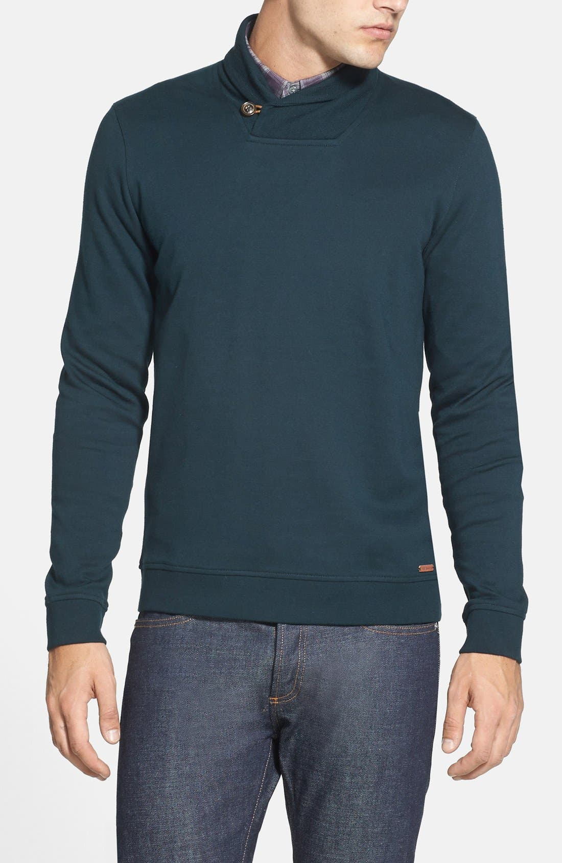 Alternate Image 1 Selected - Ted Baker London 'SFINX' Shawl Collar Jersey Pullover
