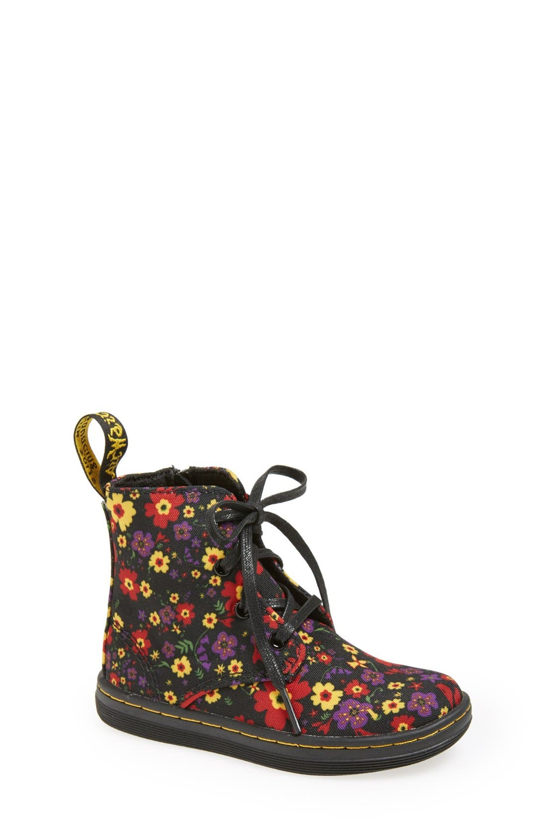 Main Image - Dr. Martens 'Laney' Floral Print Canvas Boot (Walker & Toddler)