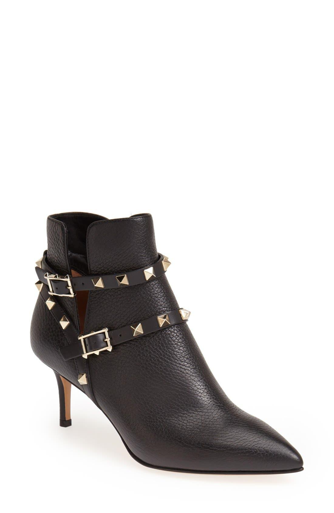 Main Image - Valentino 'Rockstud' Pointy Toe Calfskin Leather Bootie (Women)