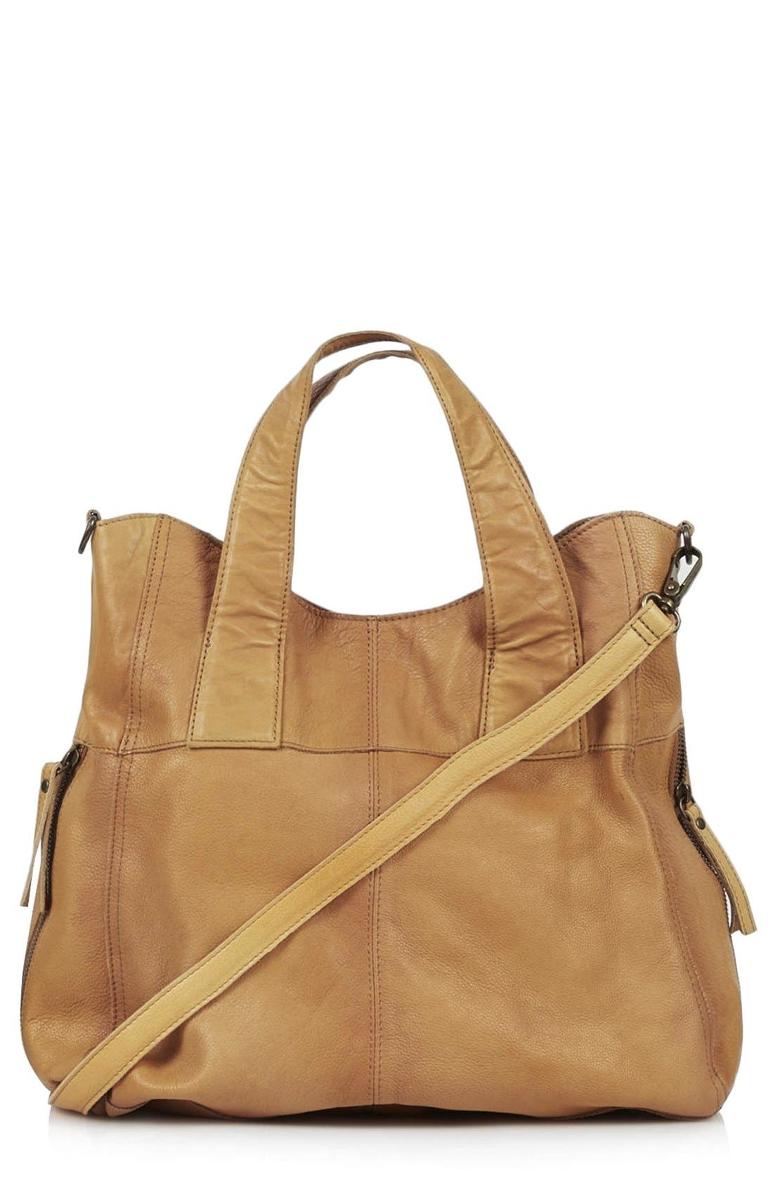 Alternate Image 1 Selected - Topshop 'Alba' Leather Hobo Bag