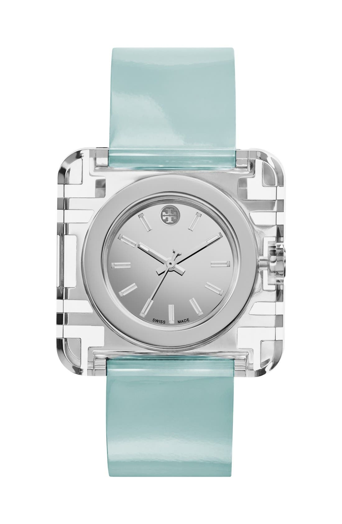 Main Image - Tory Burch 'Izzie' Square Leather Strap Watch, 36mm