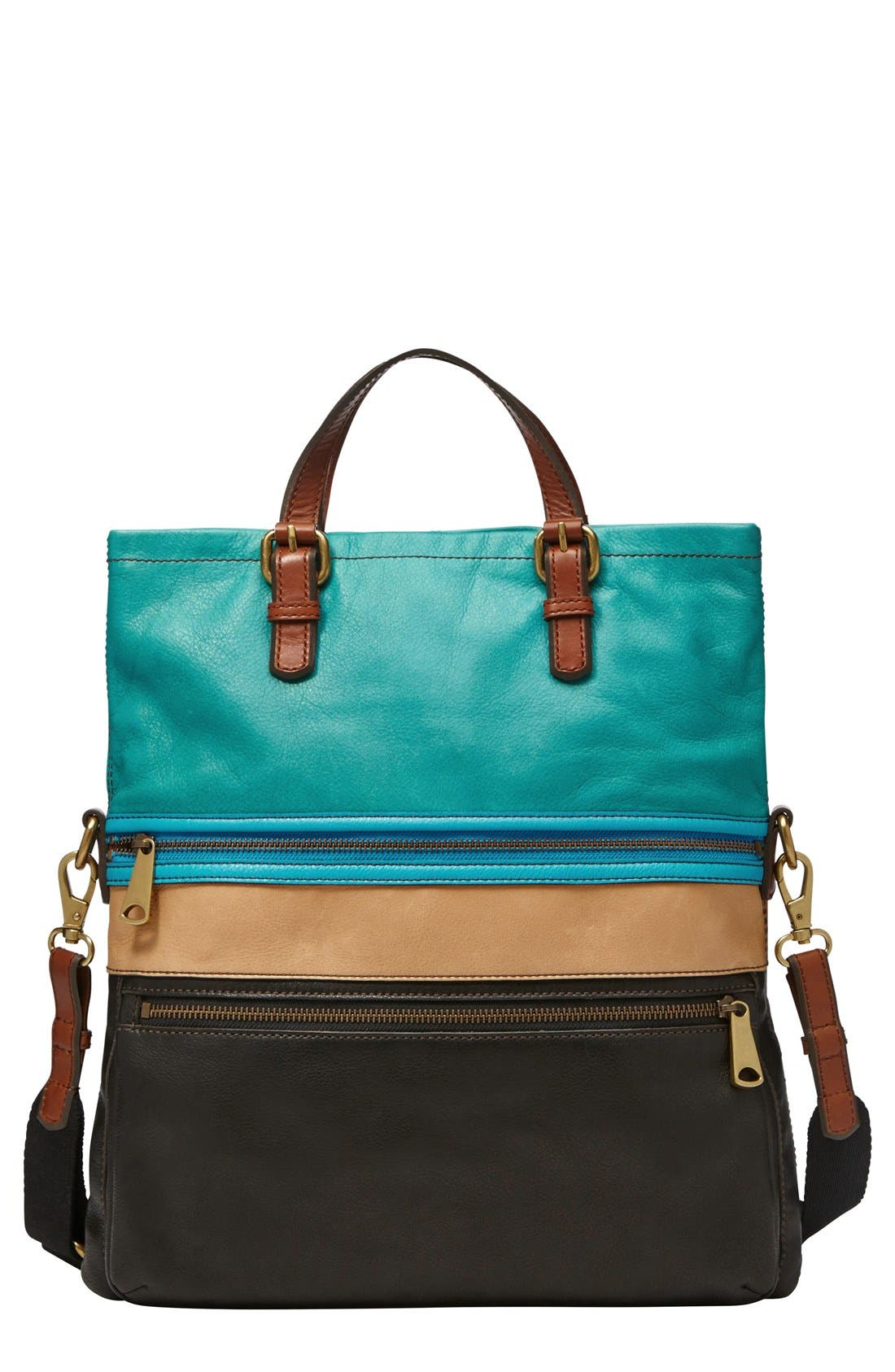Main Image - Fossil 'Explorer' Patchwork Convertible Tote