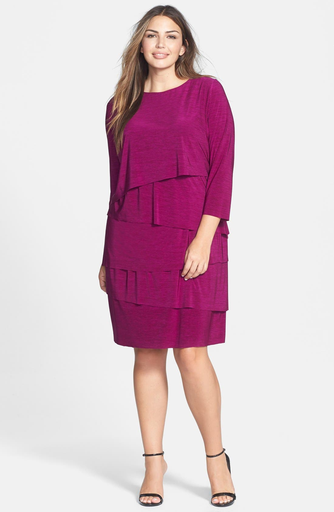 Alternate Image 1 Selected - Tahari by ASL Tiered Slub Jersey Shift Dress (Plus Size)