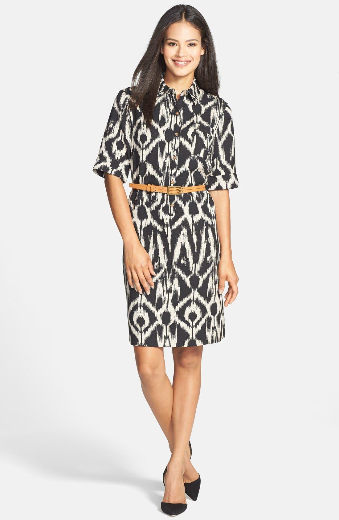 Alternate Image 3  - Tahari Belted Ikat Print Shirtdress (Regular & Petite)