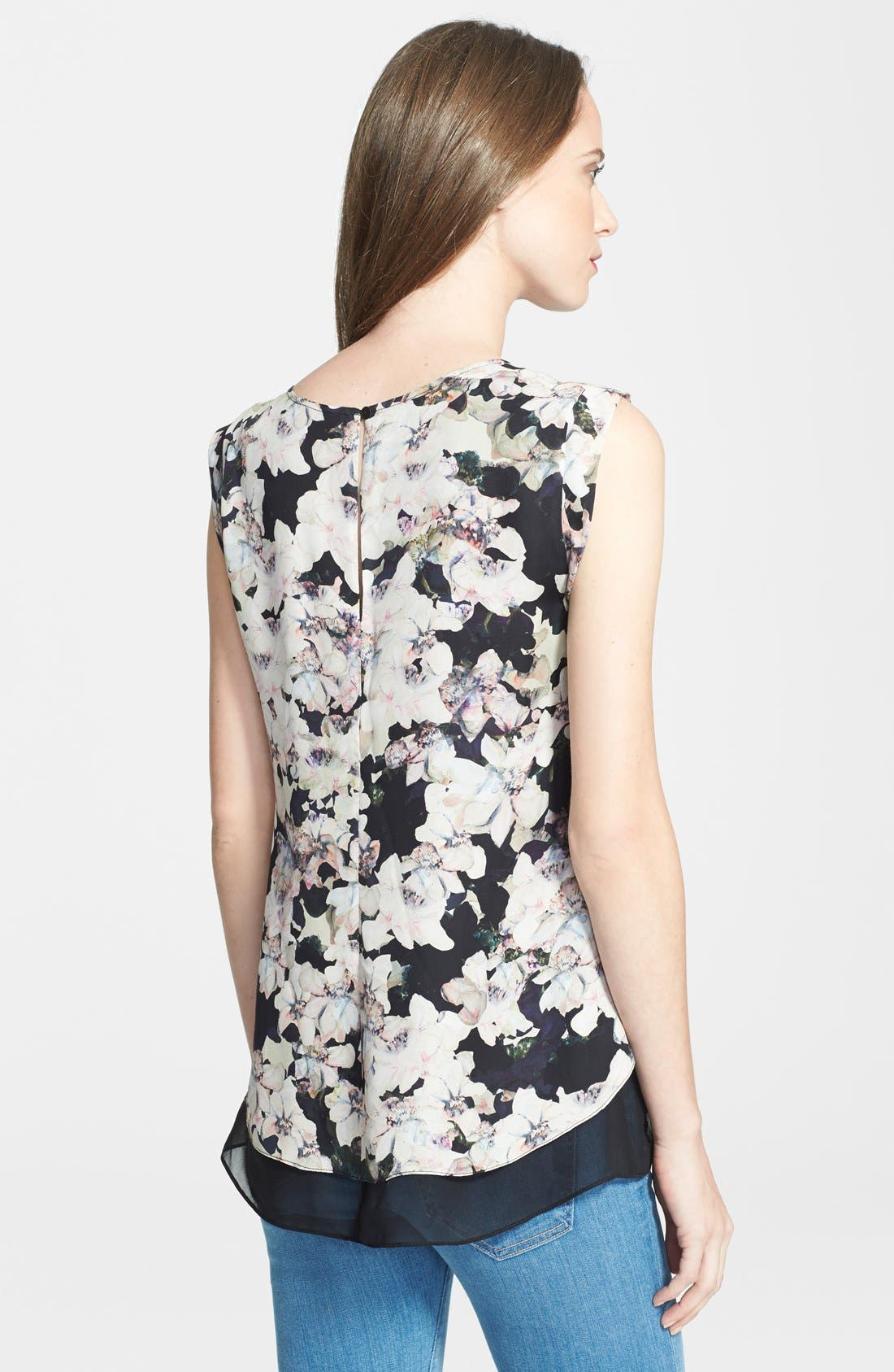 Alternate Image 2  - Rebecca Taylor 'Frosted Flower' Print Silk Top