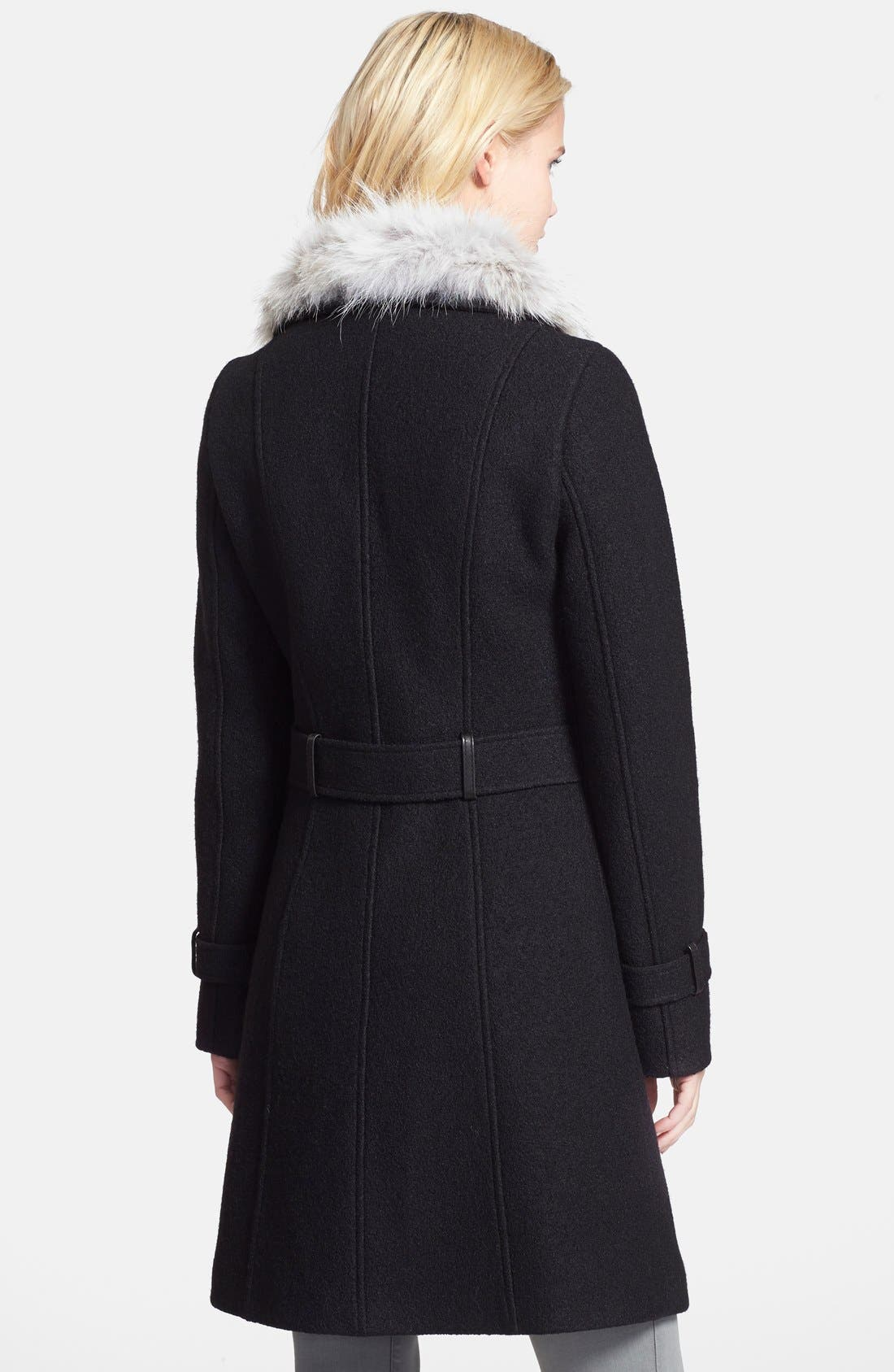 Alternate Image 2  - Soia & Kyo Genuine Coyote Fur Collar Boucle Coat (Online Only)