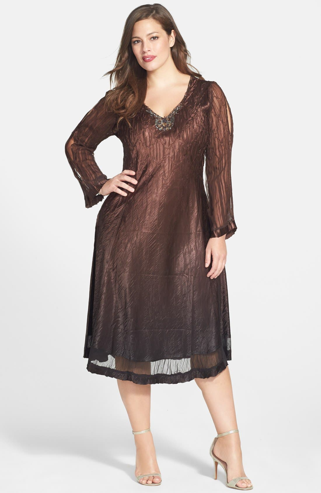 Main Image - Komarov Pleated Dress with Beaded Neck (Plus Size)
