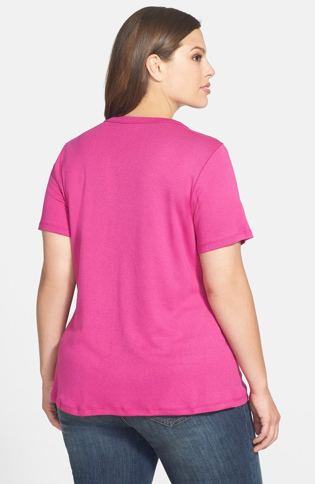 Alternate Image 2  - Sejour Short Sleeve Scoop Neck Tee (Plus Size)