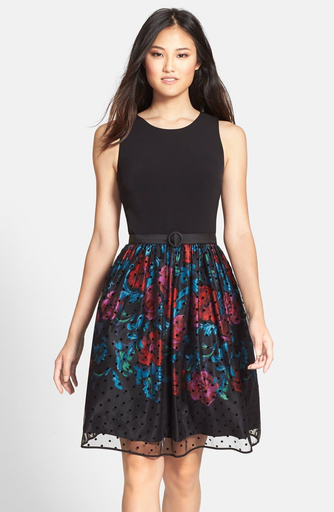 Alternate Image 1 Selected - Eliza J Belted Mixed Media Fit & Flare Dress