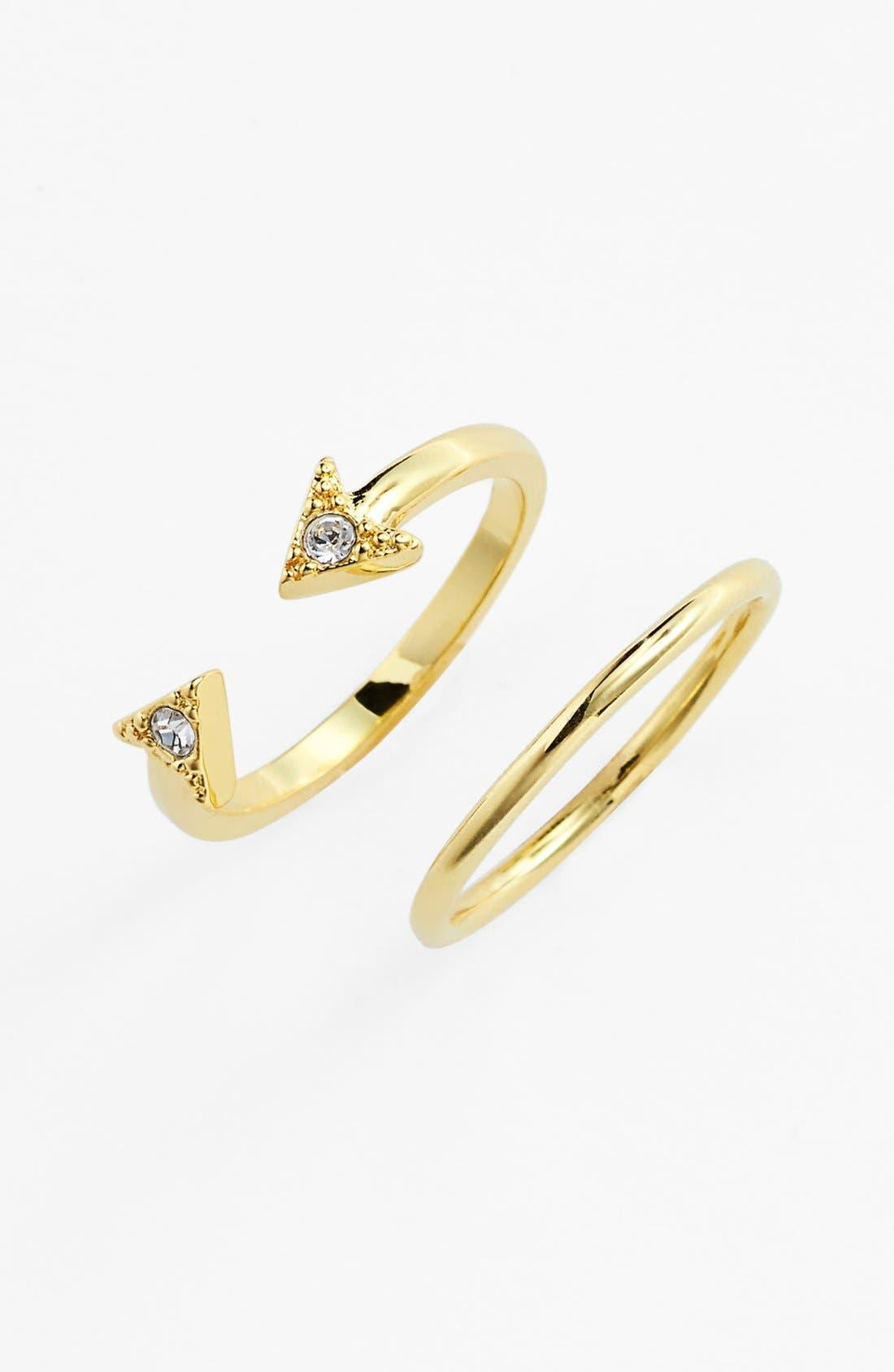 Main Image - Ariella Collection Arrow Midi Rings (Set of 2)