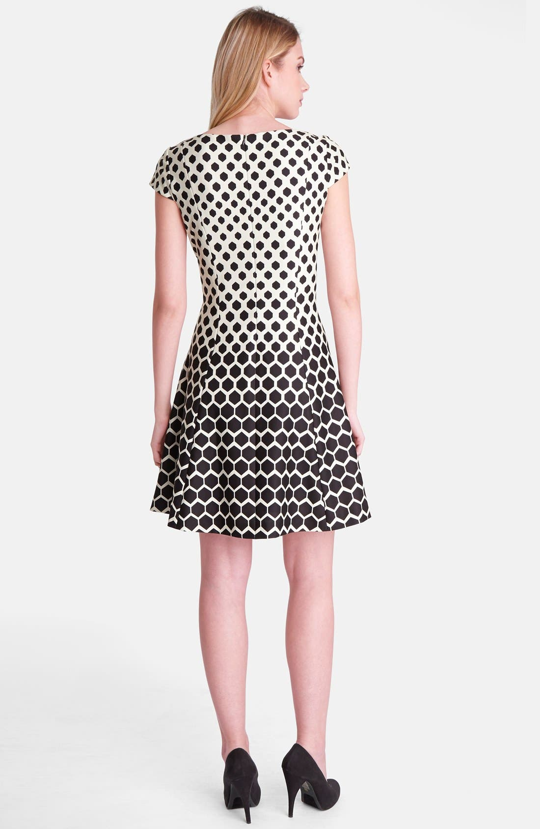 Alternate Image 2  - Tahari Print Ponte Fit & Flare Dress (Regular & Petite)