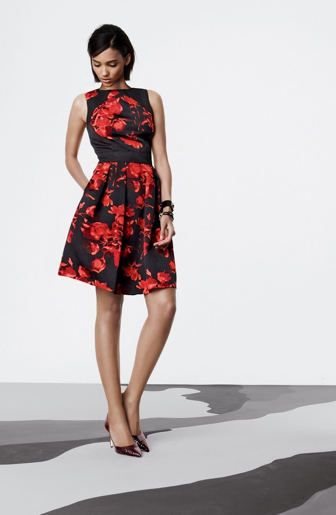 Alternate Image 5  - Taylor Dresses Floral Print Fit & Flare Dress (Regular & Petite)