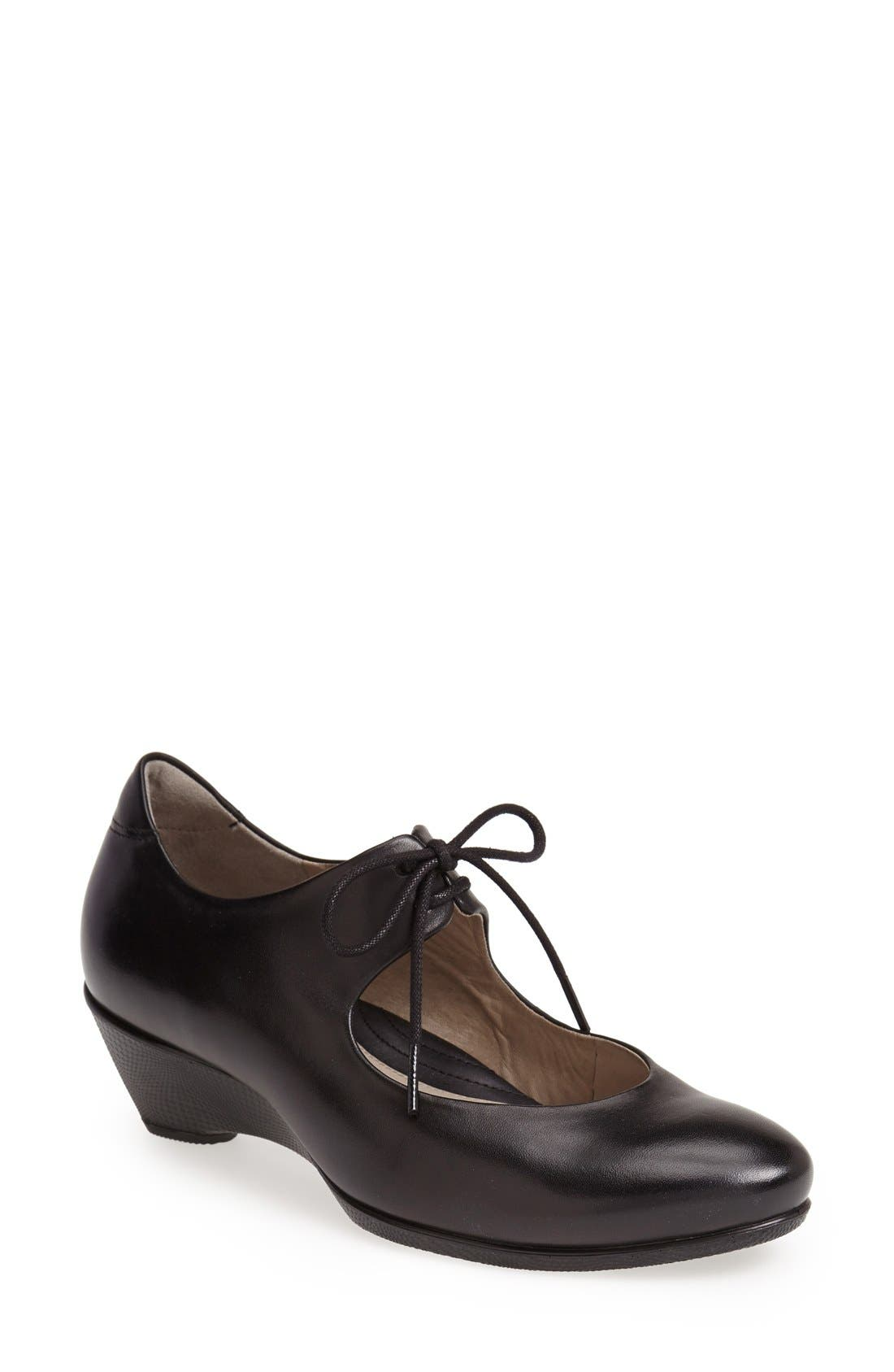 Alternate Image 1 Selected - ECCO 'Sculptured 45' Leather Mary Jane Wedge Pump (Women)