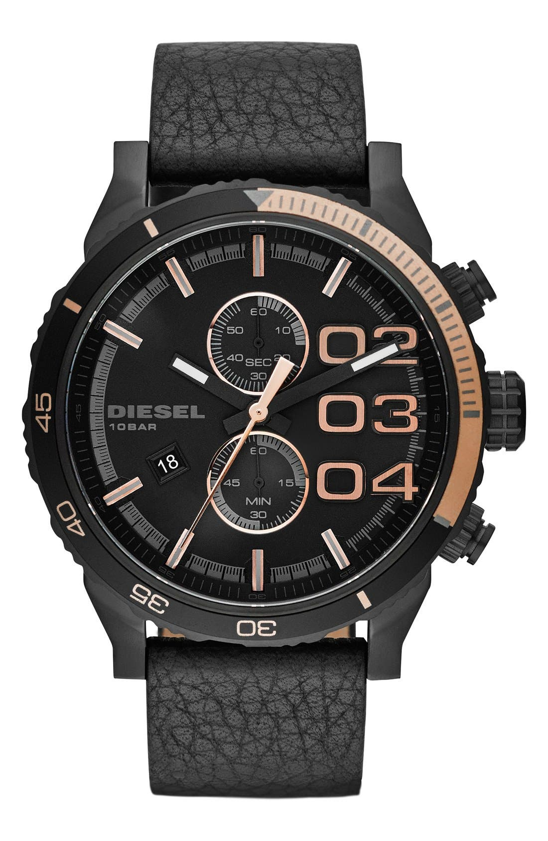 Alternate Image 1 Selected - DIESEL® 'Double Down 2.0' Chronograph Leather Strap Watch, 48mm