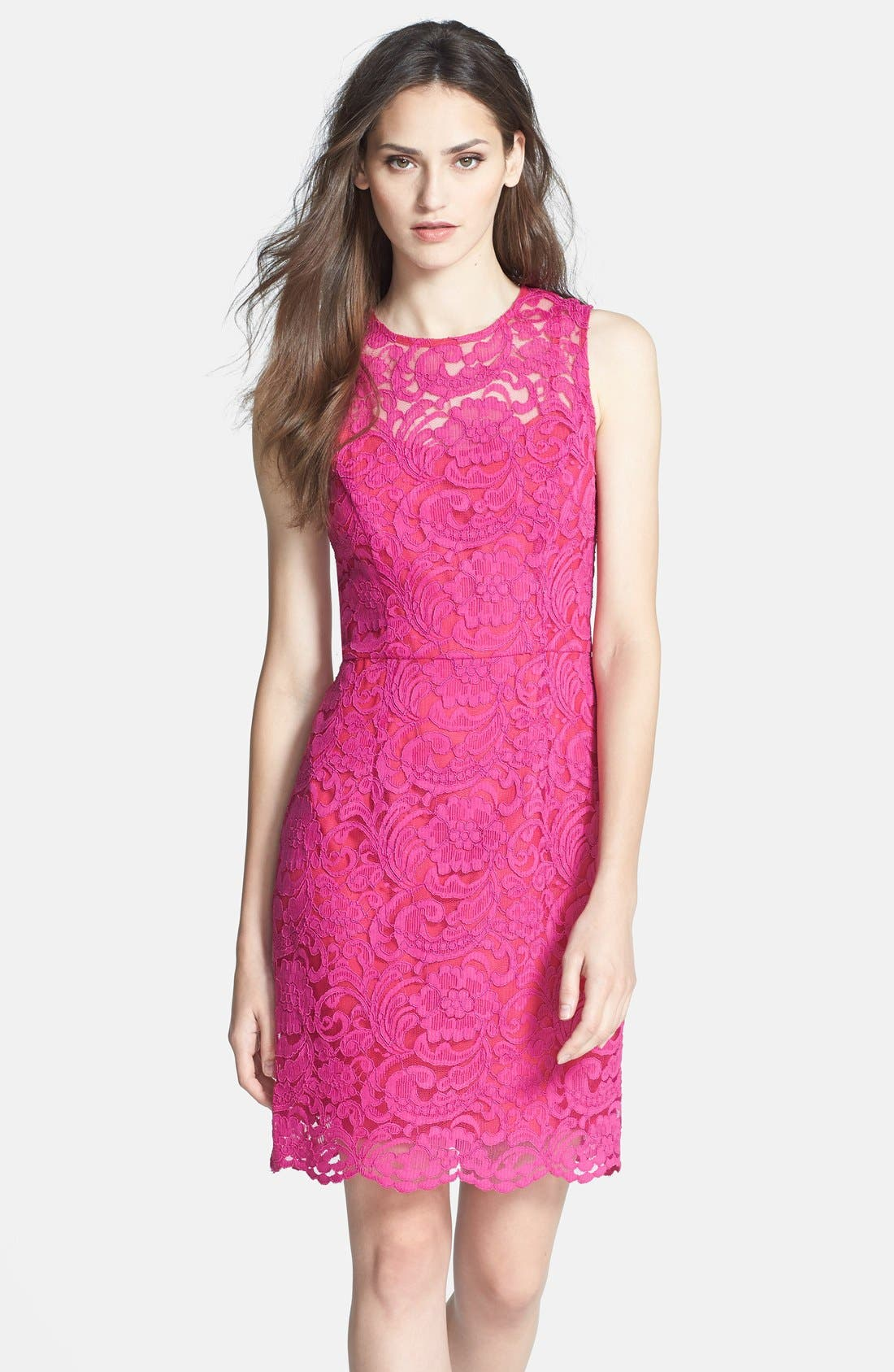 Alternate Image 1 Selected - Alexia Admor Back Bow Detail Lace Sheath Dress