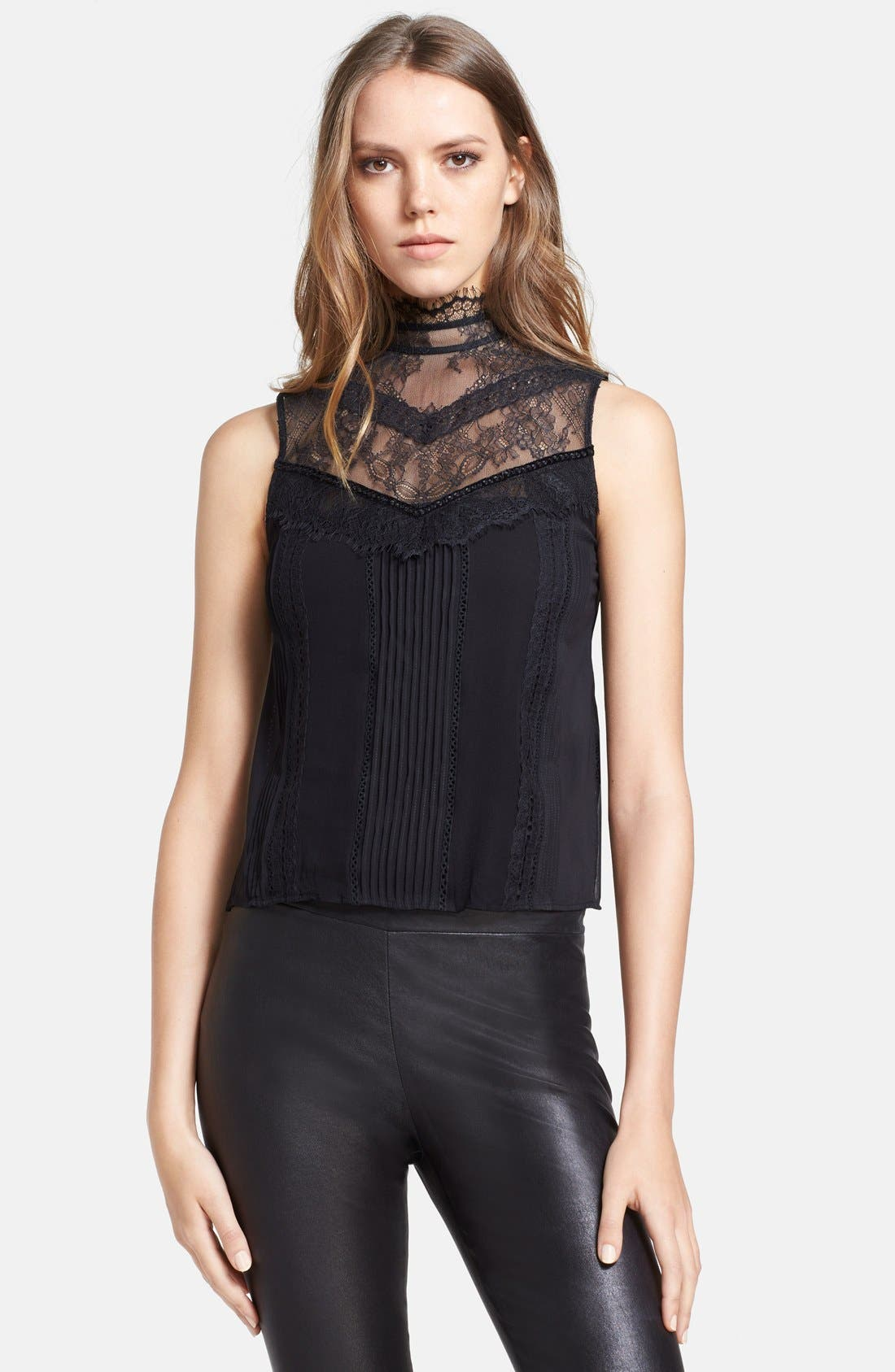 Main Image - Alice + Olivia 'Harlow' Lace Trim Stretch Silk Top