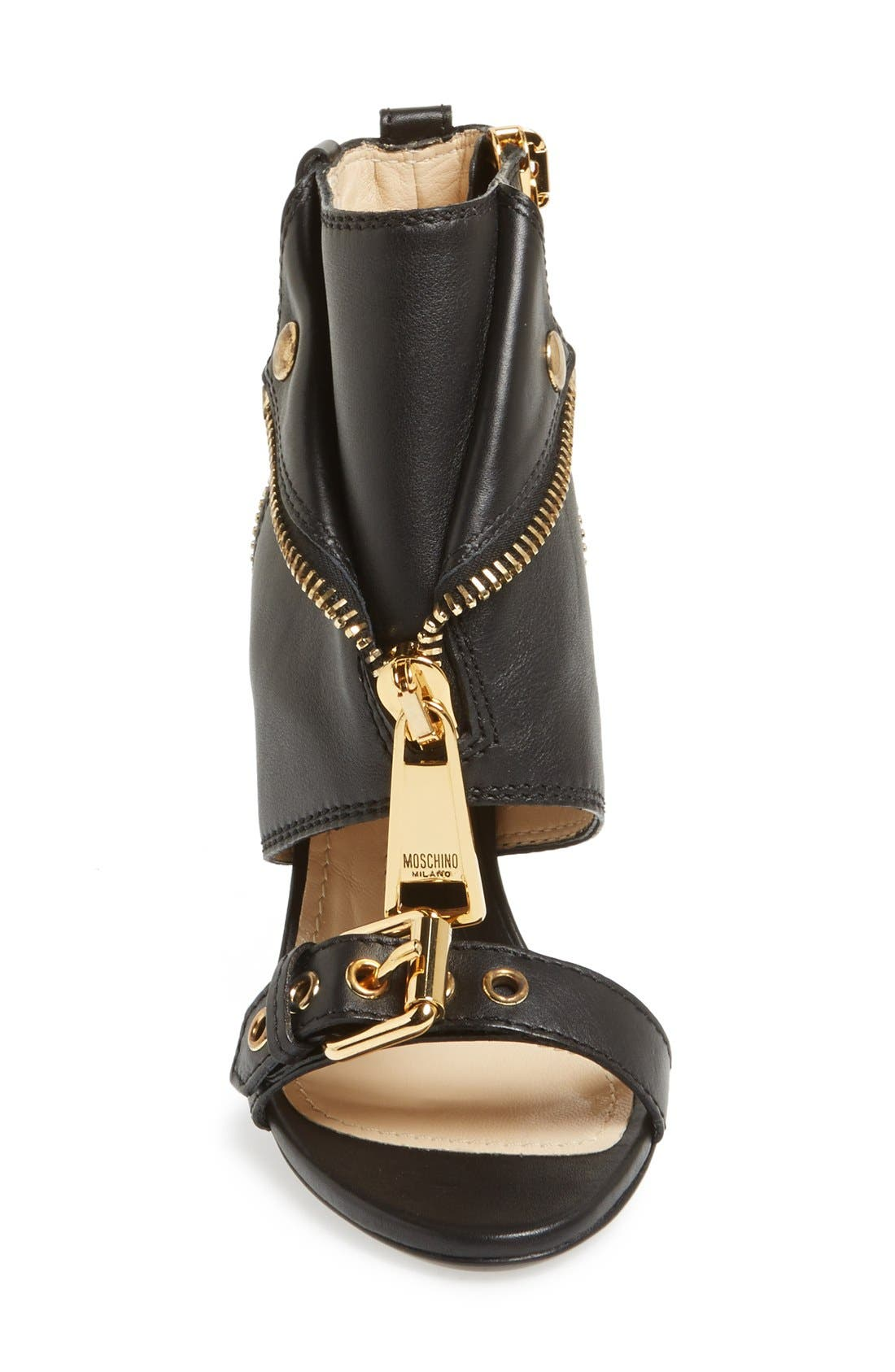 Alternate Image 3  - Moschino 'Moto Jacket' Italian Calfskin Sandal (Women)