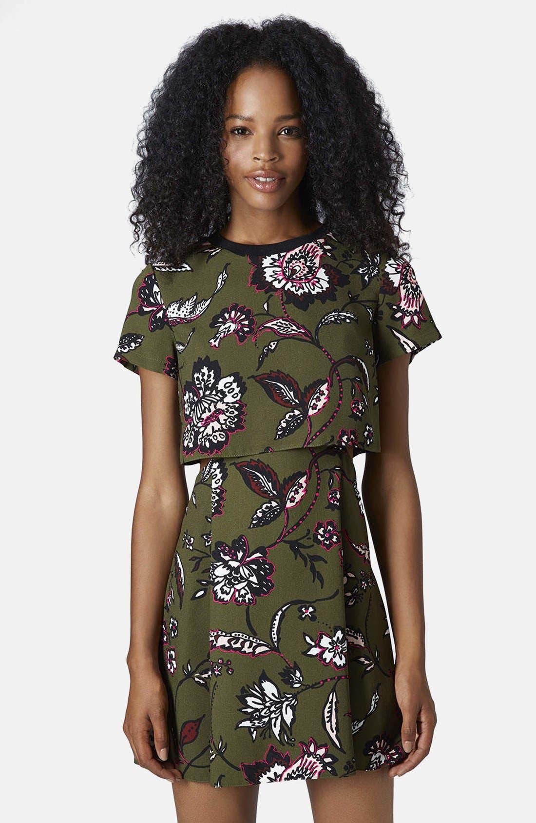 Main Image - Topshop Floral Overlay Dress