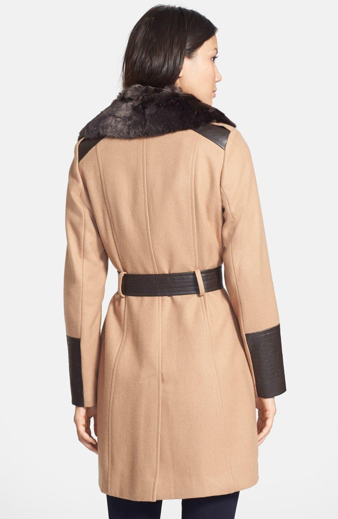 Alternate Image 2  - Via Spiga Faux Fur & Faux Leather Trim Asymmetrical Belted Coat (Online Only)