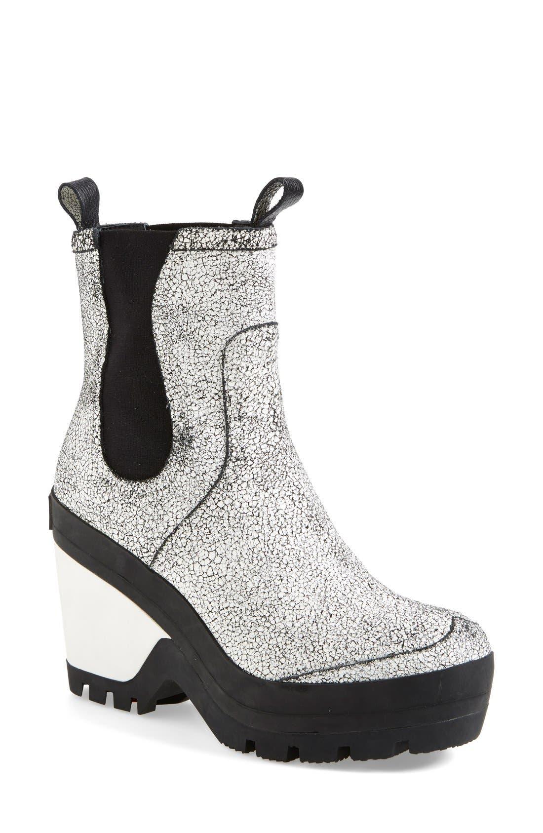 Main Image - Hunter Crackled Leather Chelsea Rain Boot (Women)