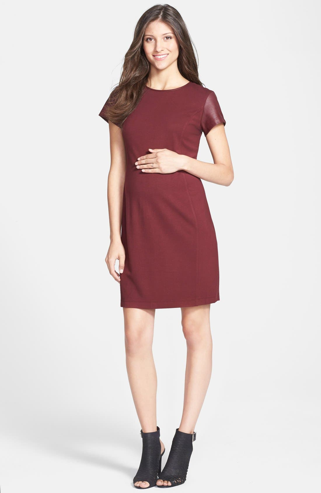 Alternate Image 1 Selected - Tart Maternity 'Braidy' Faux Leather Sleeve Maternity Dress