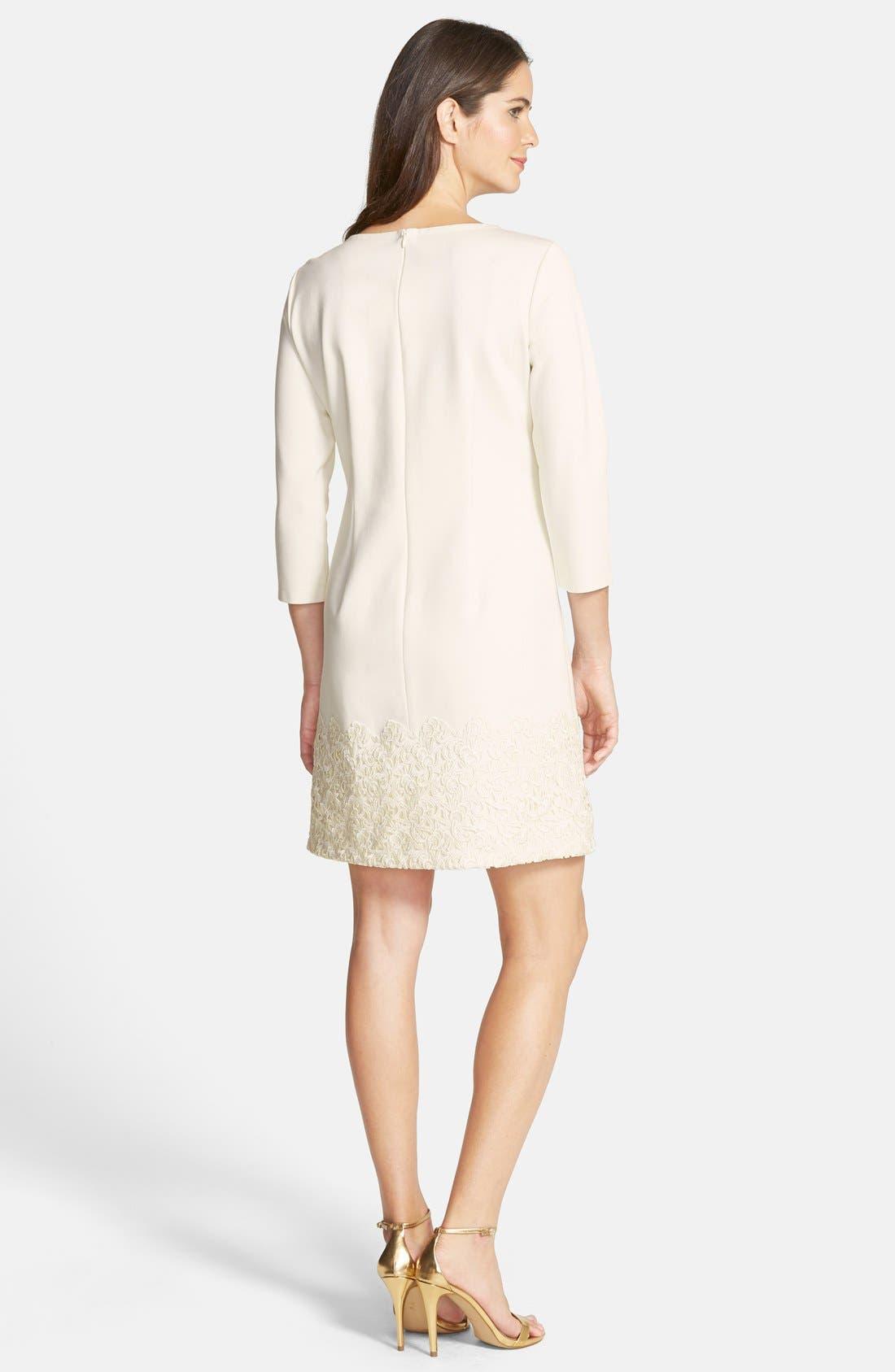 Alternate Image 2  - Taylor Dresses Ponte & Lace Shift Dress
