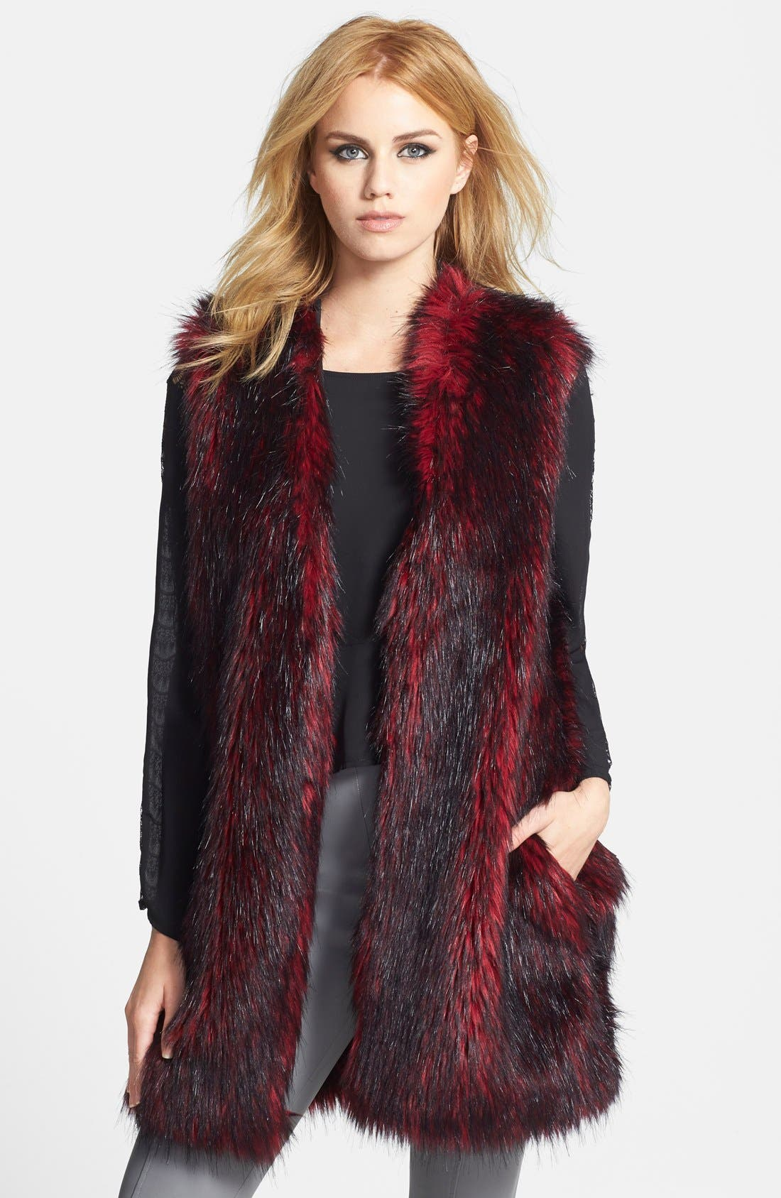 Main Image - Wayf Faux Fur Long Vest