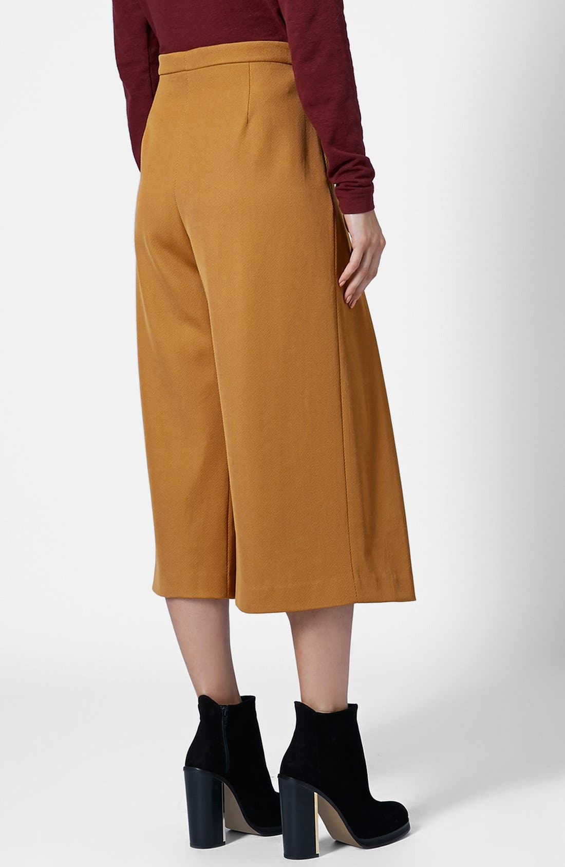 Alternate Image 2  - Topshop Unique Pleated Crop Wool Trousers