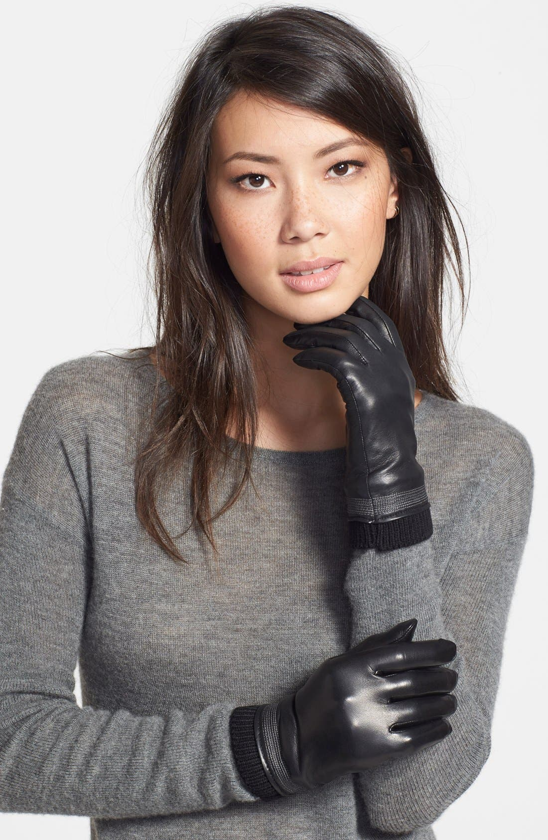 Main Image - Fownes Brothers Topstitch Detail Leather Gloves