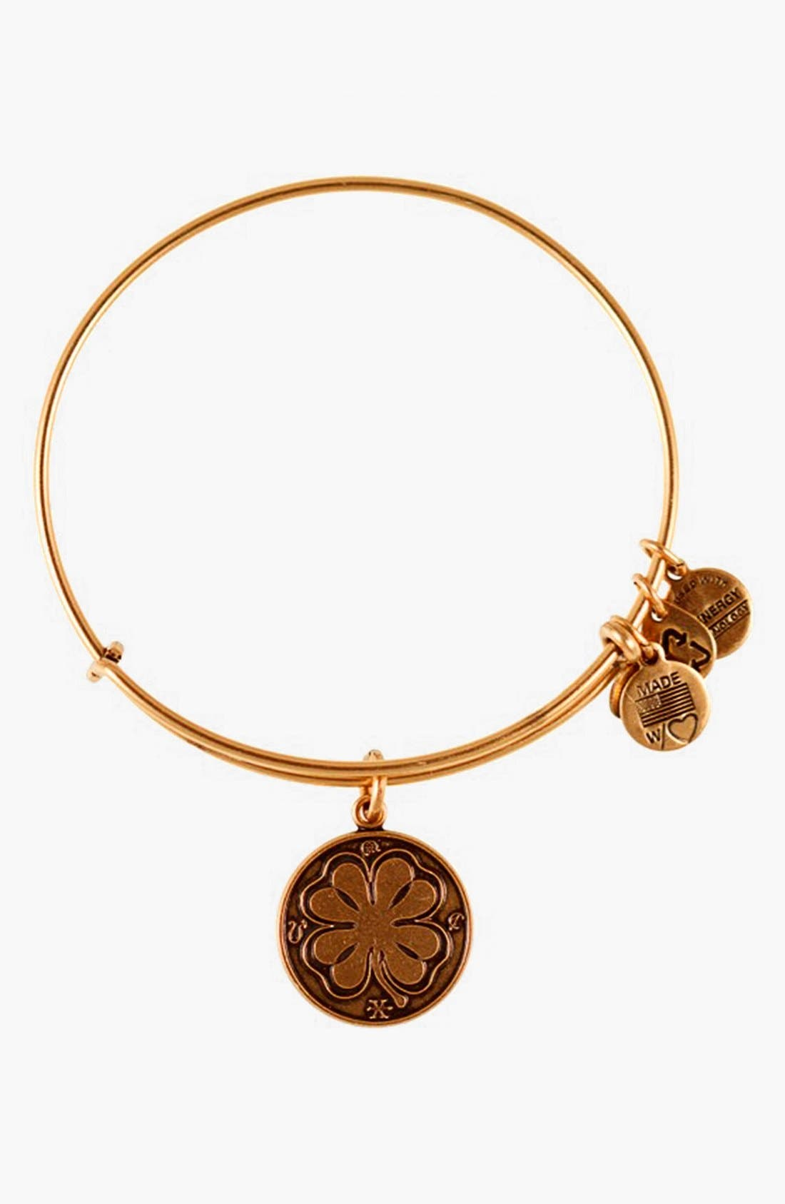 Main Image - Alex and Ani 'Four Leaf Clover' Expandable Wire Bracelet