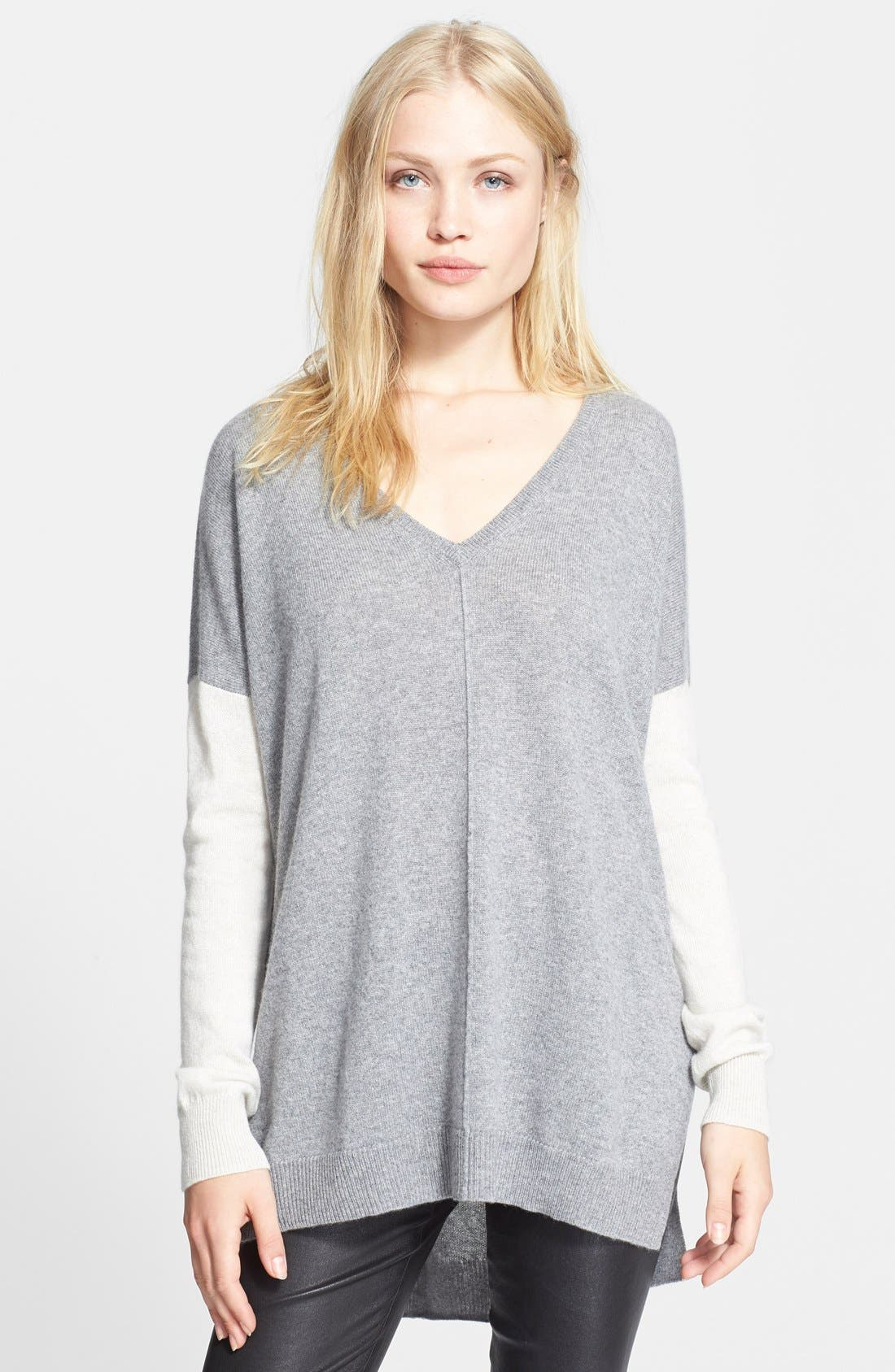 Main Image - autumn cashmere Colorblock High/Low Cashmere Sweater (Nordstrom Exclusive)