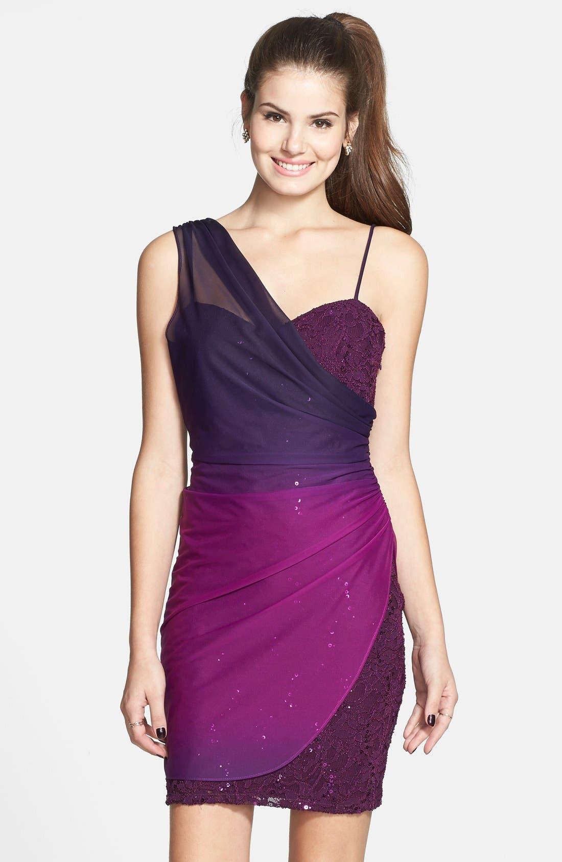 Alternate Image 1 Selected - Jump Apparel Ombré Overlay Body-Con Dress (Juniors)