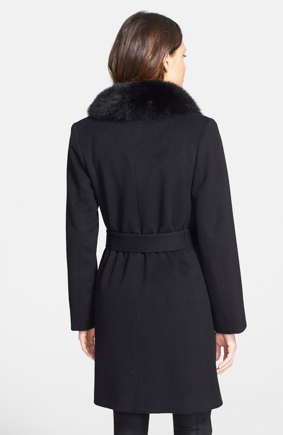 Alternate Image 2  - Fleurette Wool Wrap Coat with Genuine Fox Fur Collar