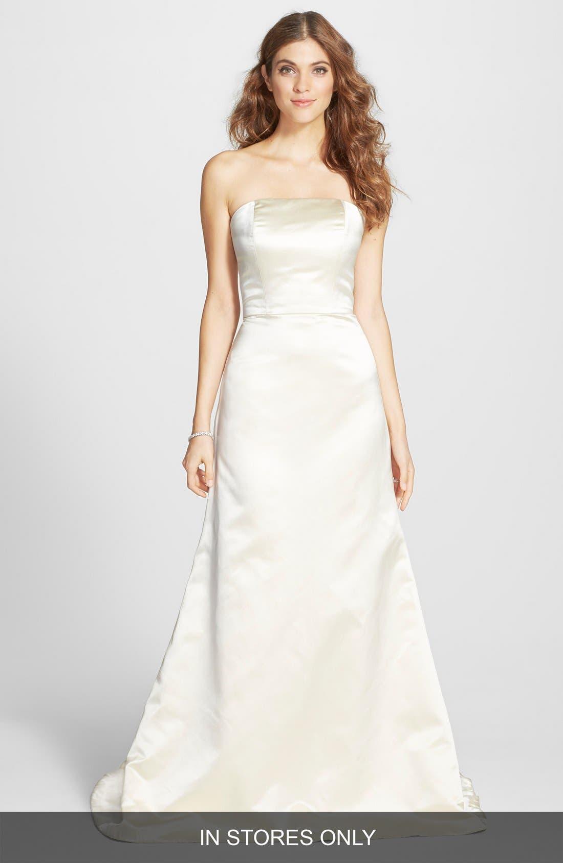 CAROLINE DEVILLO 'Grace' Silk Satin Fluted Dress