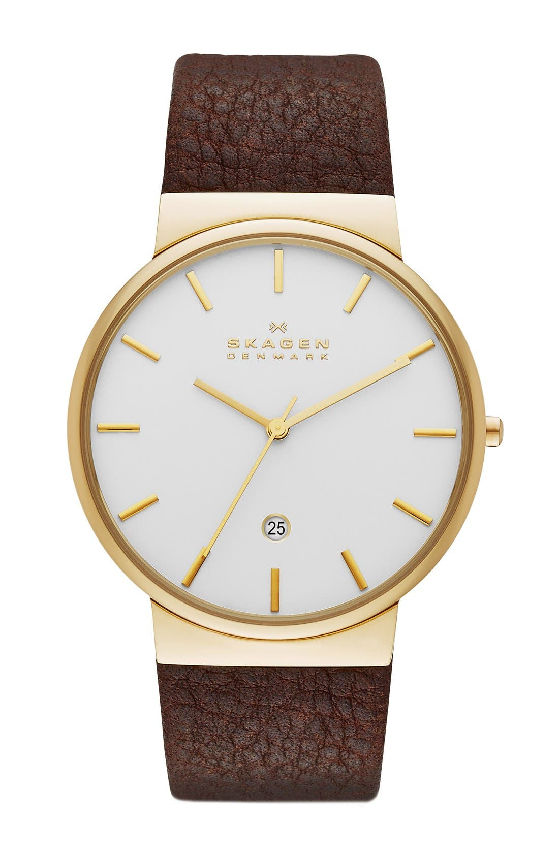 Alternate Image 1 Selected - Skagen 'Ancher' Leather Strap Watch, 40mm