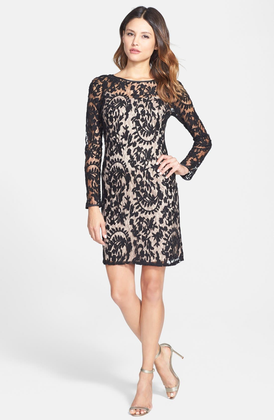 Alternate Image 3  - Adrianna Papell Beaded Embroidered Lace Shift Dress