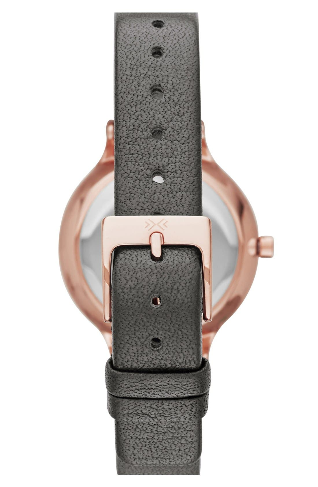 Alternate Image 2  - Skagen 'Anita' Crystal Index Leather Strap Watch, 30mm