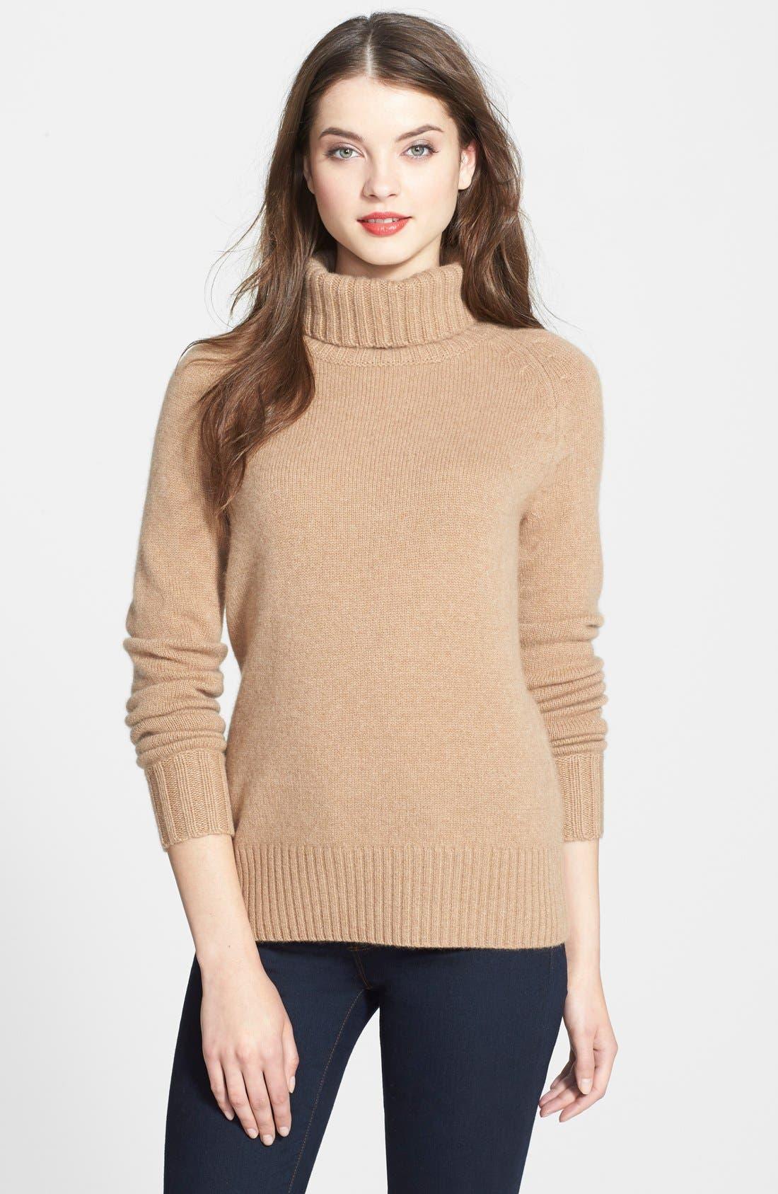 Alternate Image 1 Selected - Halogen® Turtleneck Cashmere Sweater (Regular & Petite)
