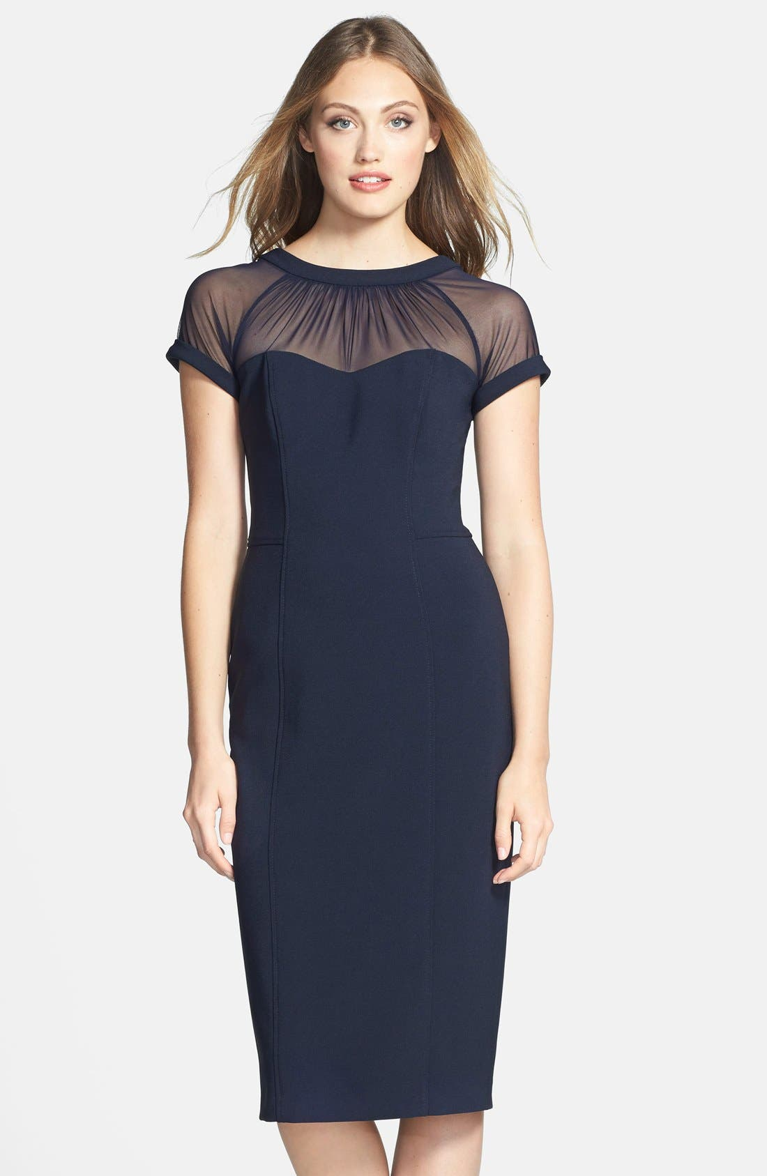 Alternate Image 1  - Maggy London Illusion Yoke Crepe Sheath Dress (Regular & Petite)
