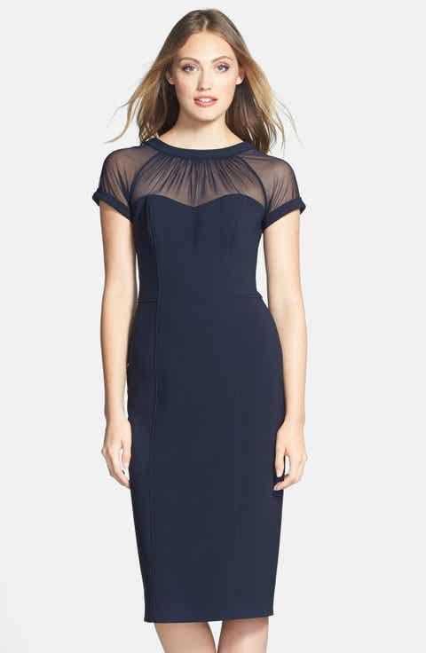 Maggy London Illusion Yoke Crepe Sheath Dress (Regular   Petite)