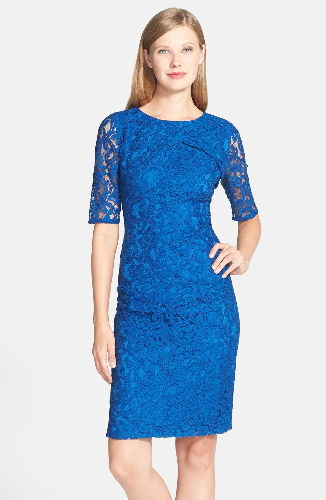 Main Image - Adrianna Papell Pleat Neck Lace Sheath Dress