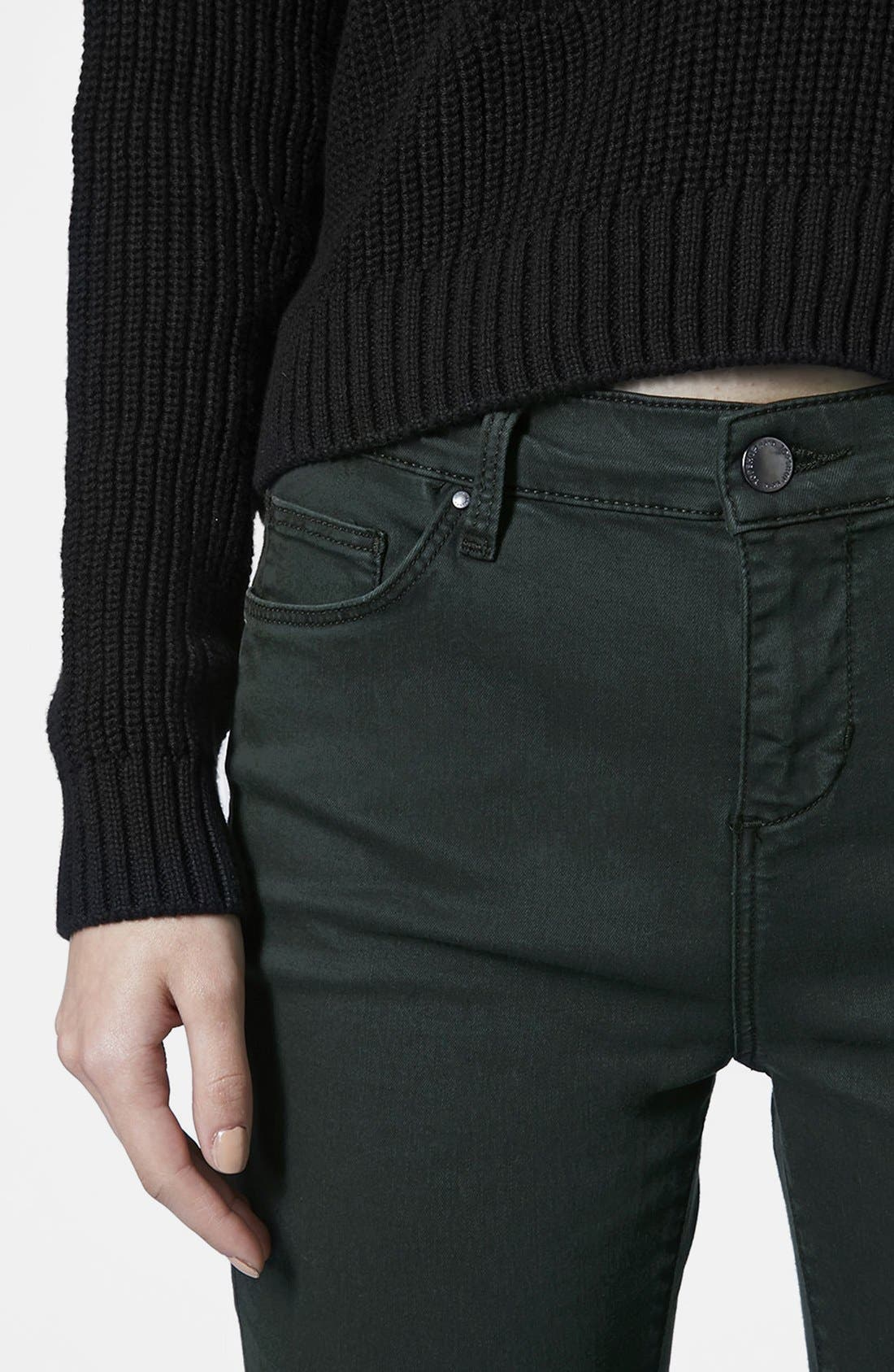 Alternate Image 4  - Topshop Moto 'Leigh' Forest Jeans (Dark Green)
