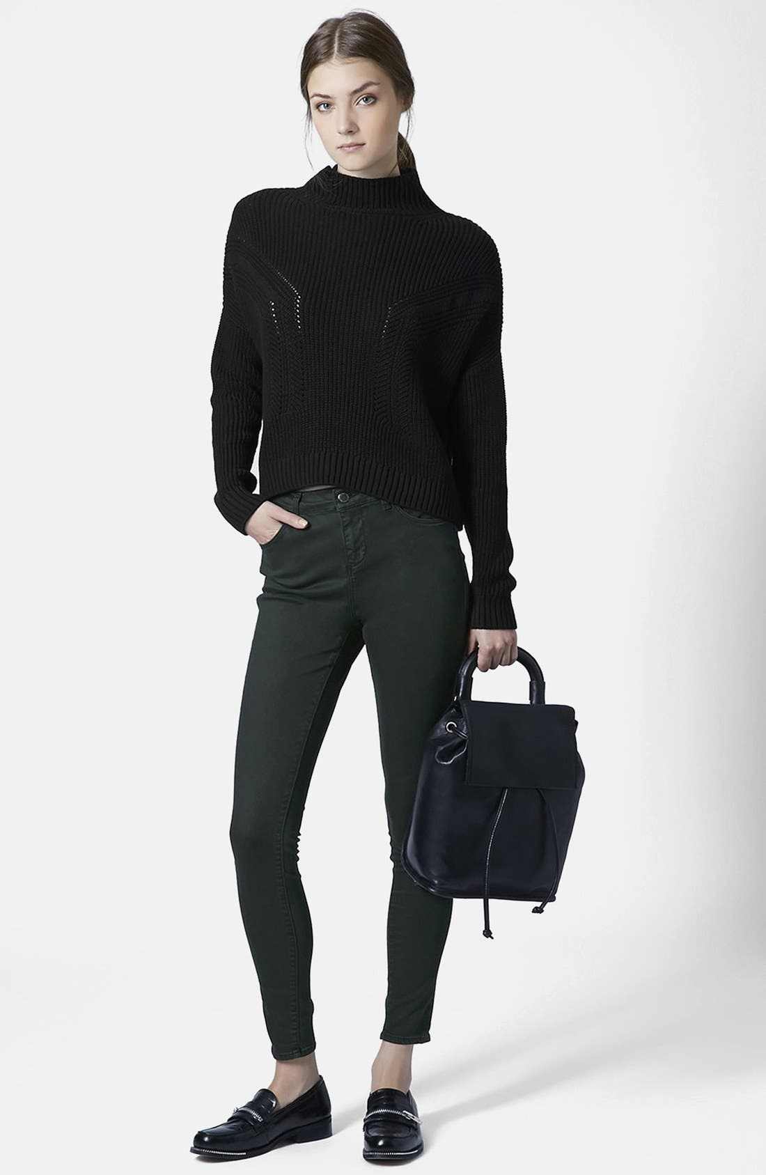 Alternate Image 5  - Topshop Moto 'Leigh' Forest Jeans (Dark Green)