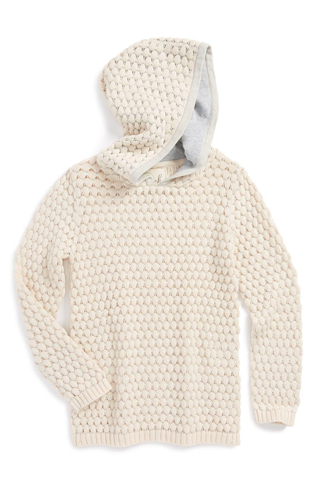 Main Image - Peek 'Gia' Metallic Loose Knit Hoodie (Baby Girls)