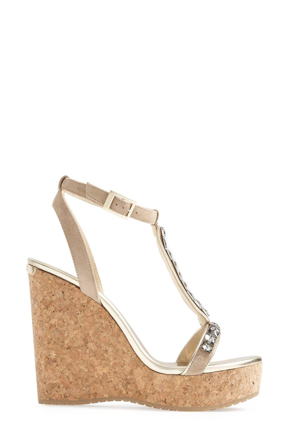 Alternate Image 4  - Jimmy Choo 'Naima' Jeweled T-Strap Wedge Sandal (Women)