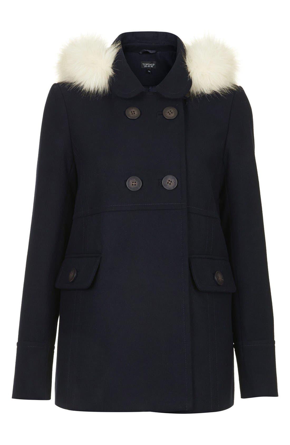 Alternate Image 3  - Topshop 'Lottie' Faux Fur Trim Hooded Coat