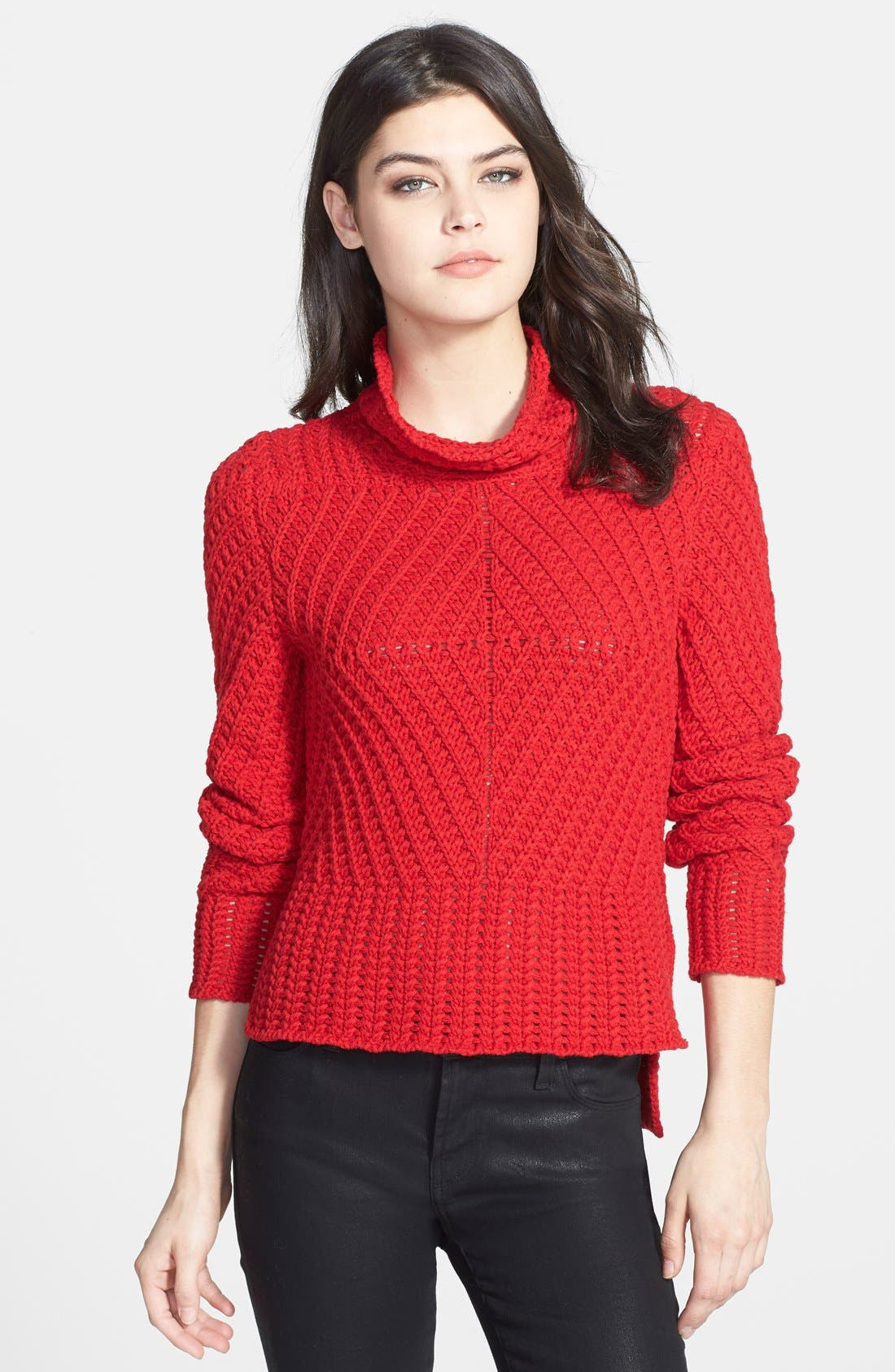 Alternate Image 1 Selected - 1.STATE Funnel Neck Cable Knit Sweater