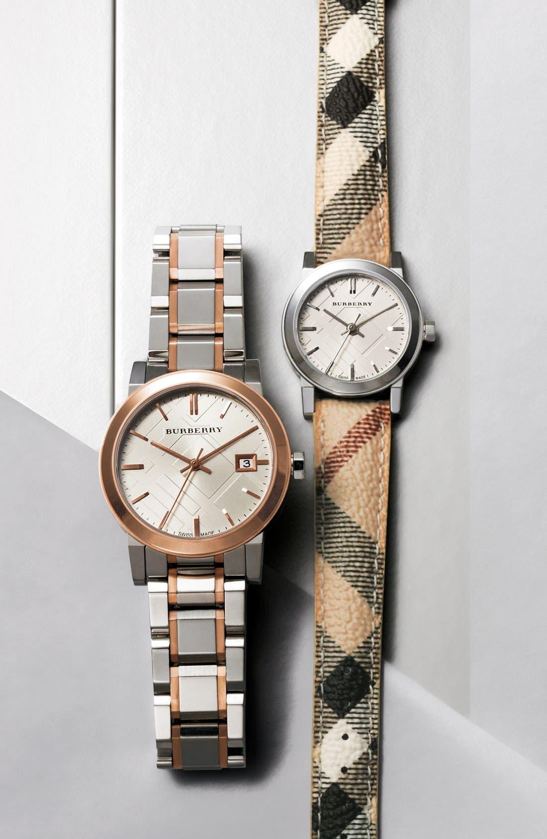 Alternate Image 5  - Burberry Medium Check Stamped Bracelet Watch, 34mm