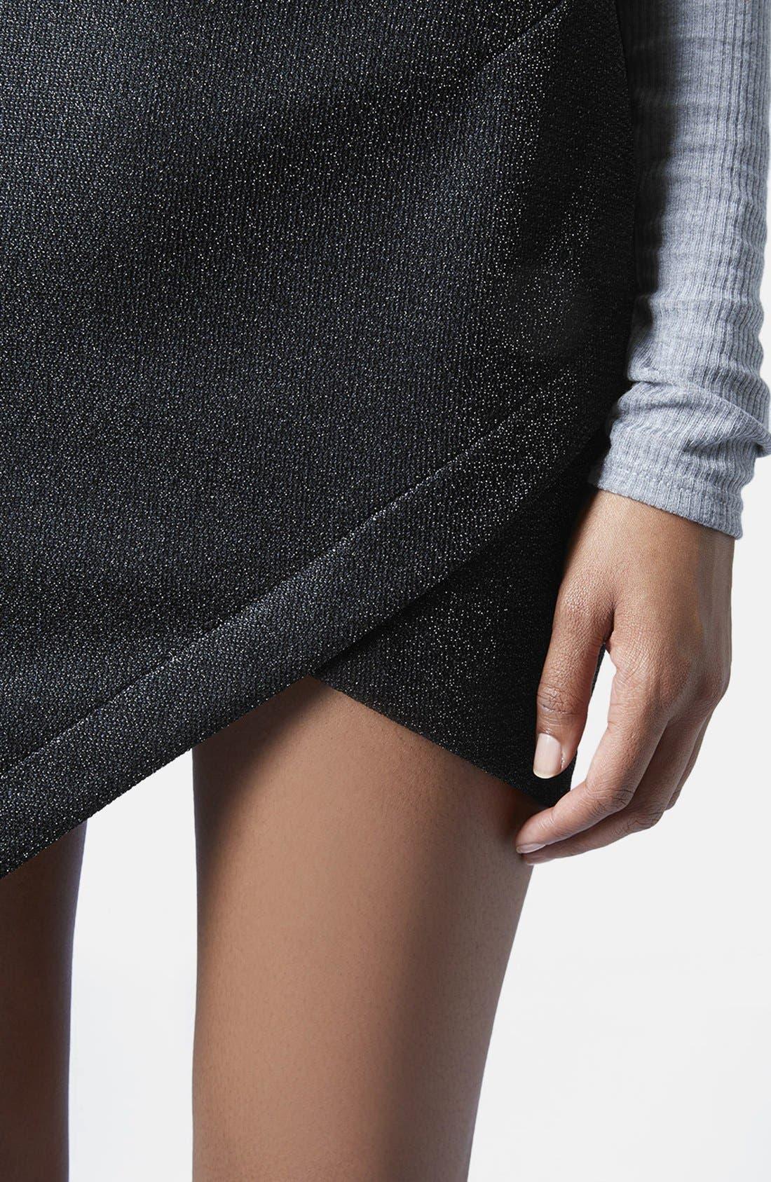 Alternate Image 4  - Topshop Tinsel Wrap Miniskirt