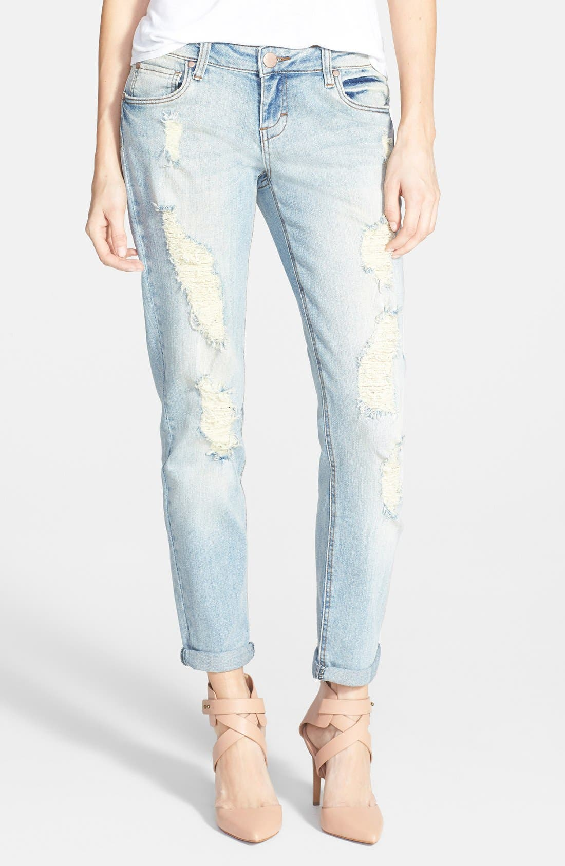 Alternate Image 1  - Sun & Shadow Destroyed Boyfriend Jeans (Light)